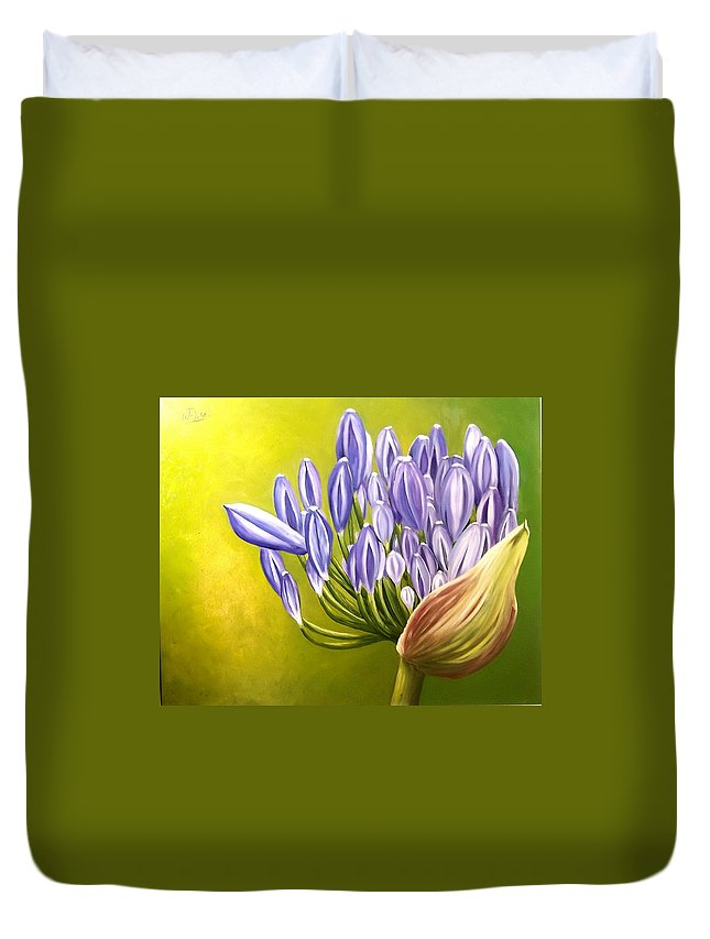 Flower Duvet Cover featuring the painting Agapanthos by Natalia Tejera