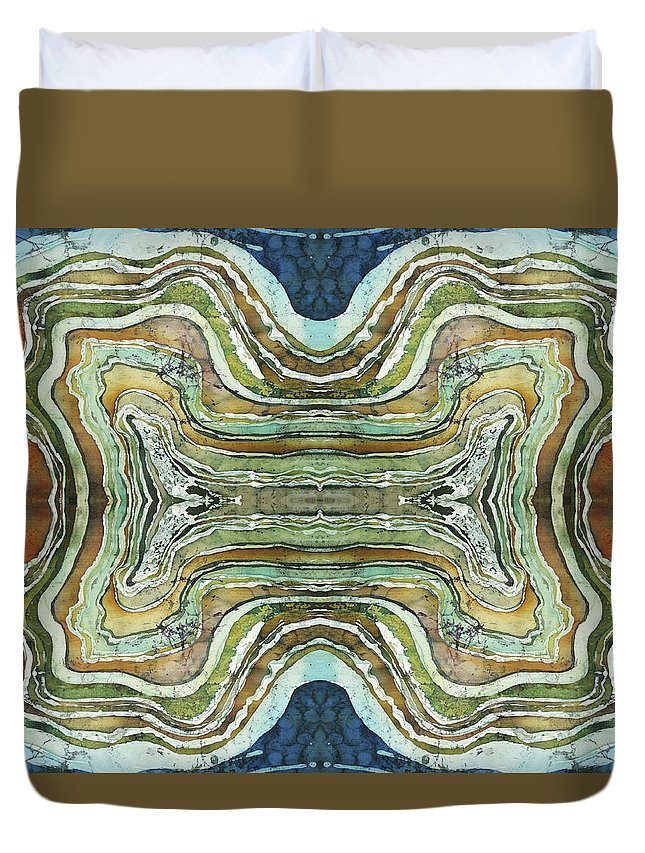 Agates Duvet Cover featuring the painting Agate Inspiration - 24a by Sue Duda