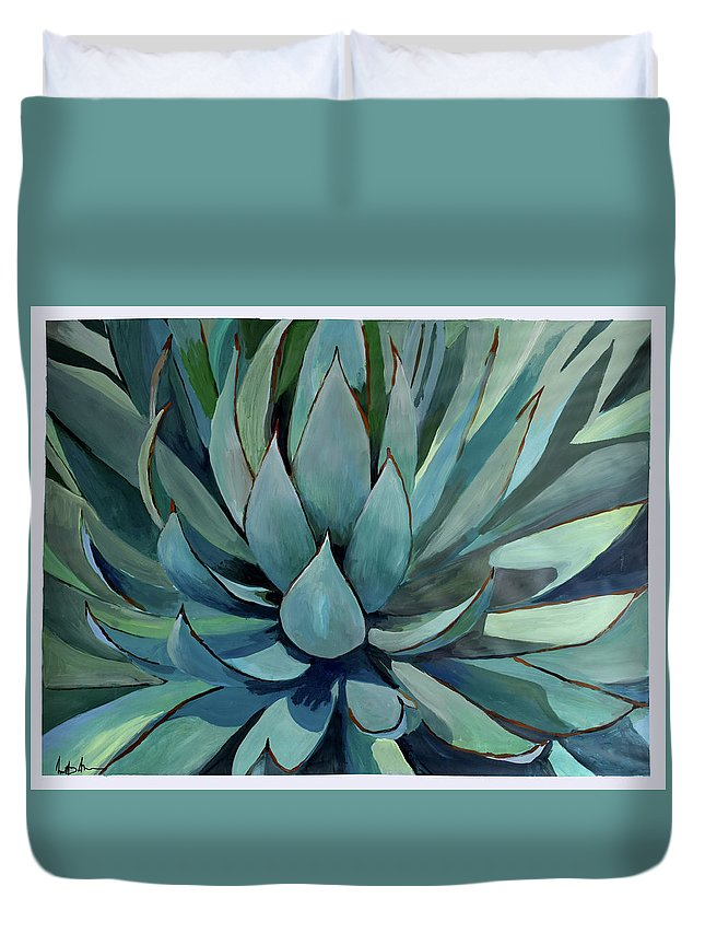 Pastel Duvet Cover featuring the painting Agave Americana by Geoff Greene