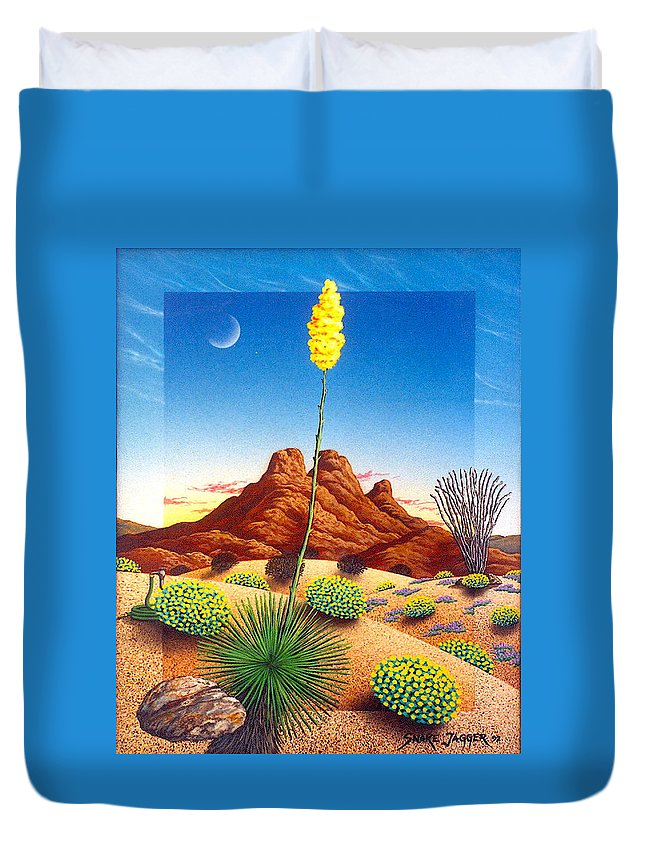 Agave Cactus Duvet Cover featuring the painting Agave Bloom by Snake Jagger
