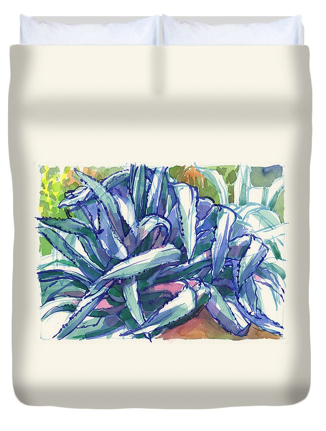 Plant Duvet Cover featuring the painting Agave Tangle by Judith Kunzle