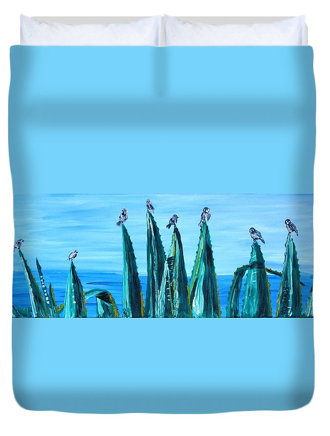Landscape Duvet Cover featuring the painting Agave With Sparrows by Valerie Ornstein