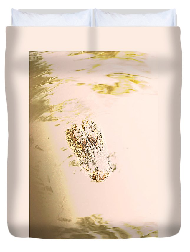 Alligator Duvet Cover featuring the photograph Aged Alligator by Jennifer Kelly