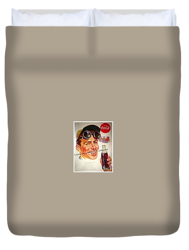 Coca/cola Duvet Cover featuring the photograph Aged Coca Cola Ad by Debra Lynch