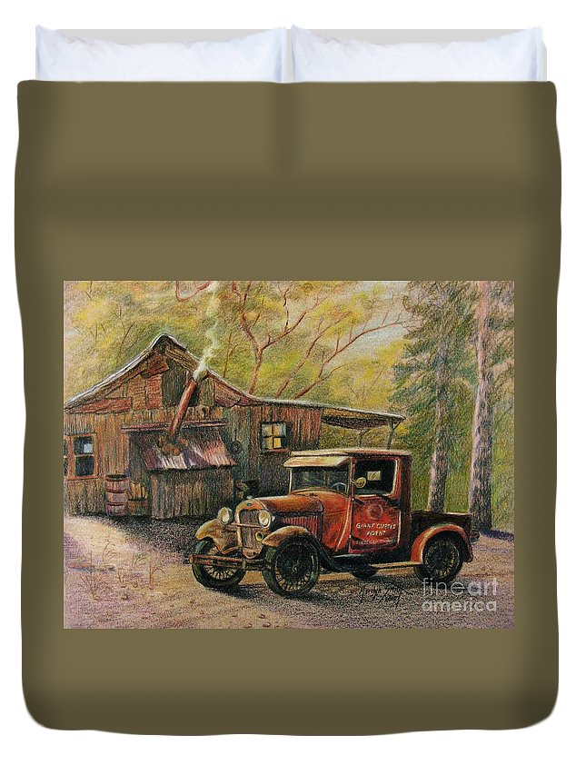 Old Trucks Duvet Cover featuring the drawing Agent's Visit by Marilyn Smith