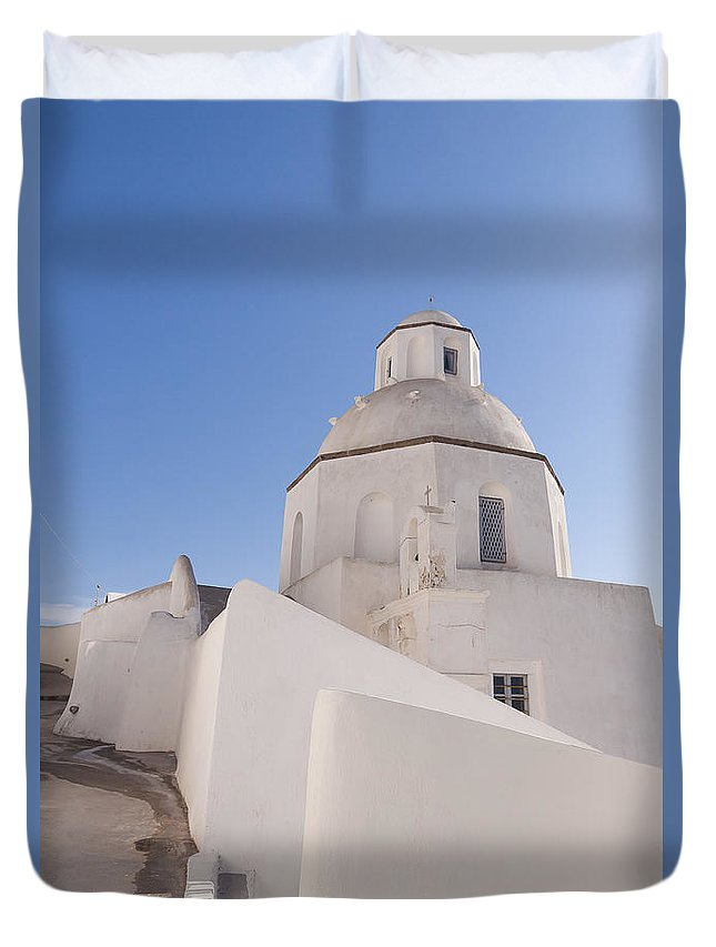 Greek Duvet Cover featuring the photograph Agios Minas Santorini by Eva Tziampazi Rendl