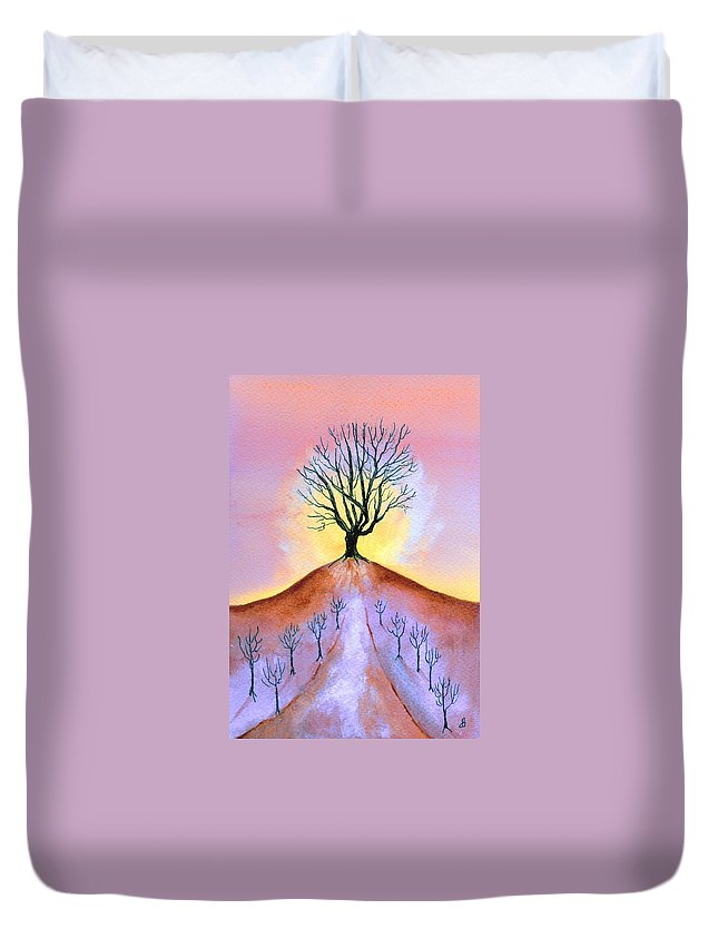 Watercolor Duvet Cover featuring the painting Aglow by Brenda Owen