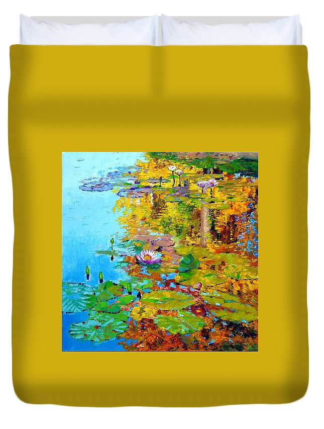 Fall Duvet Cover featuring the painting Aglow With Fall by John Lautermilch