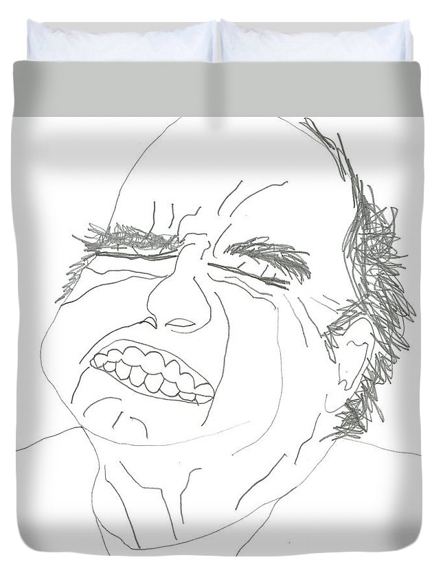 Agony Duvet Cover featuring the drawing Agony by David Jacobi