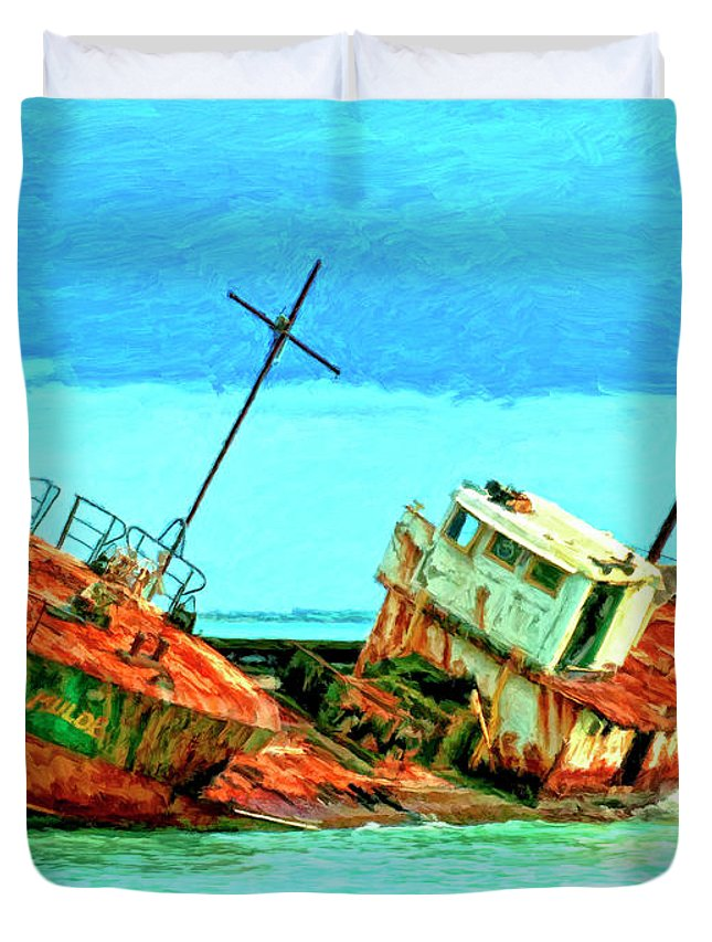 Aground Off Jamaica Duvet Cover featuring the painting Aground Off Jamaica by Dominic Piperata