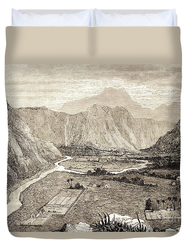 1826 Duvet Cover featuring the painting Ahuapuaa Lithograph by Hawaiian Legacy Archive - Printscapes