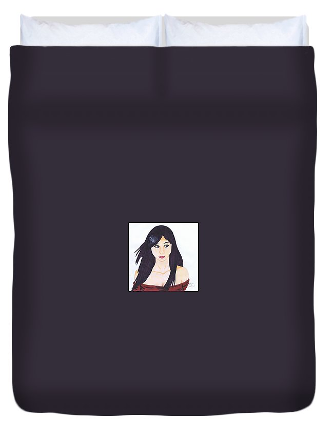 Girl Duvet Cover featuring the painting Aiko by Mary Beth Macleod