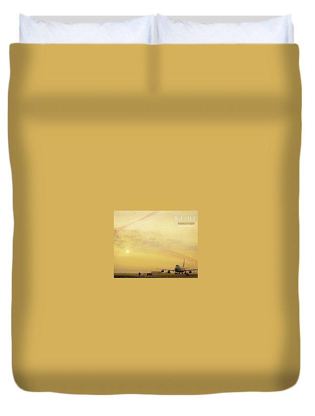 Air City Duvet Cover featuring the digital art Air City by Dorothy Binder