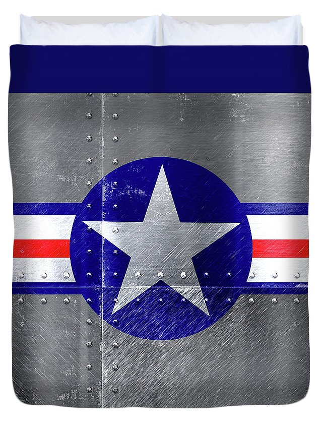 Air Force Duvet Cover featuring the mixed media Air Force Logo On Riveted Steel Plane Fuselage by Design Turnpike