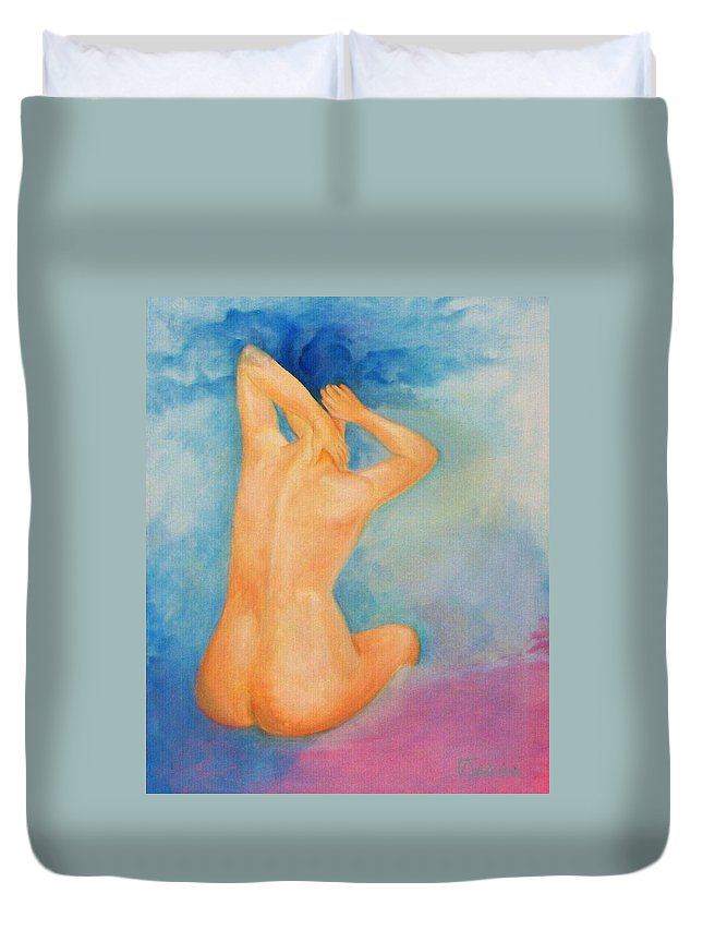 Surreal Woman Nude Naked Ski Hair Air Clouds Duvet Cover featuring the painting Air Head by Veronica Jackson