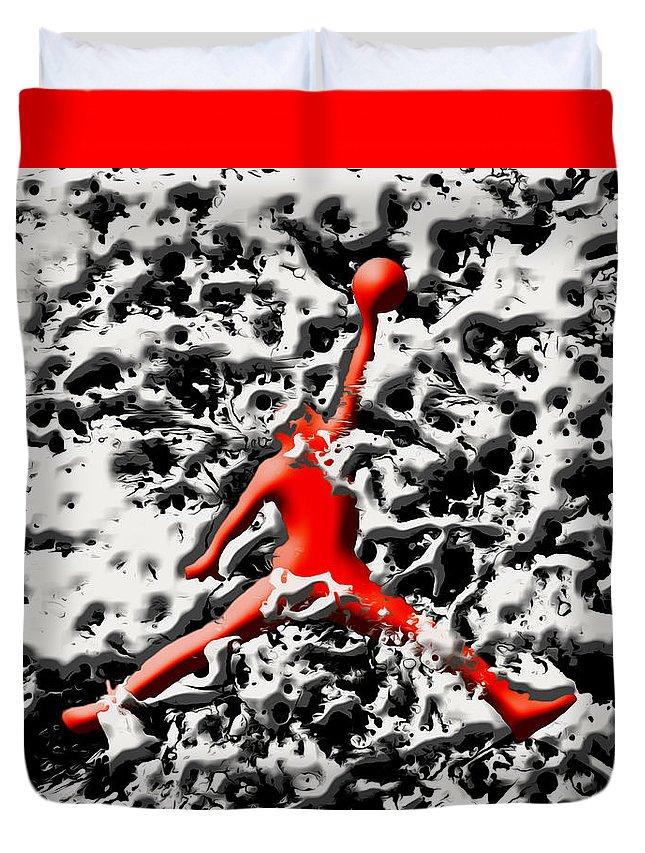 Michael Jordan Duvet Cover featuring the mixed media Air Jordan 5f by Brian Reaves