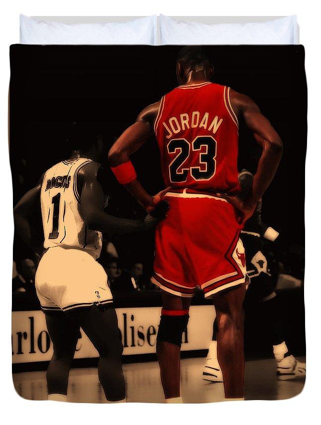 Michael Jordan Duvet Cover featuring the digital art Air Jordan And Muggsy  Bogues by Brian Reaves 9f5b1013c