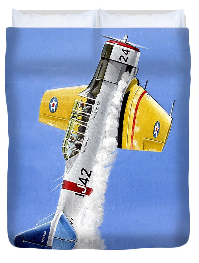 Military Duvet Cover featuring the painting Air Show by Marc Stewart