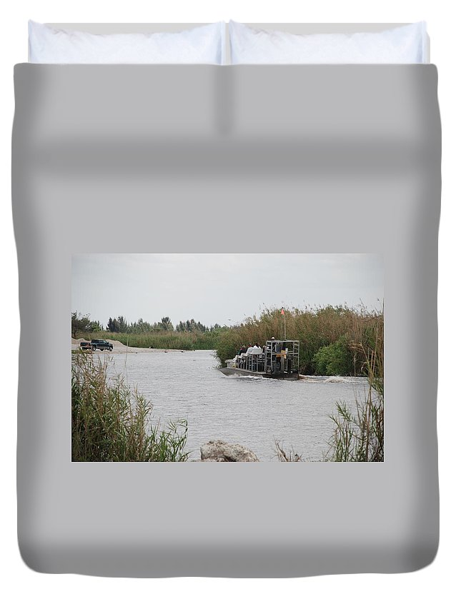 Everglades Duvet Cover featuring the photograph Airboat Rides 25 Cents by Rob Hans