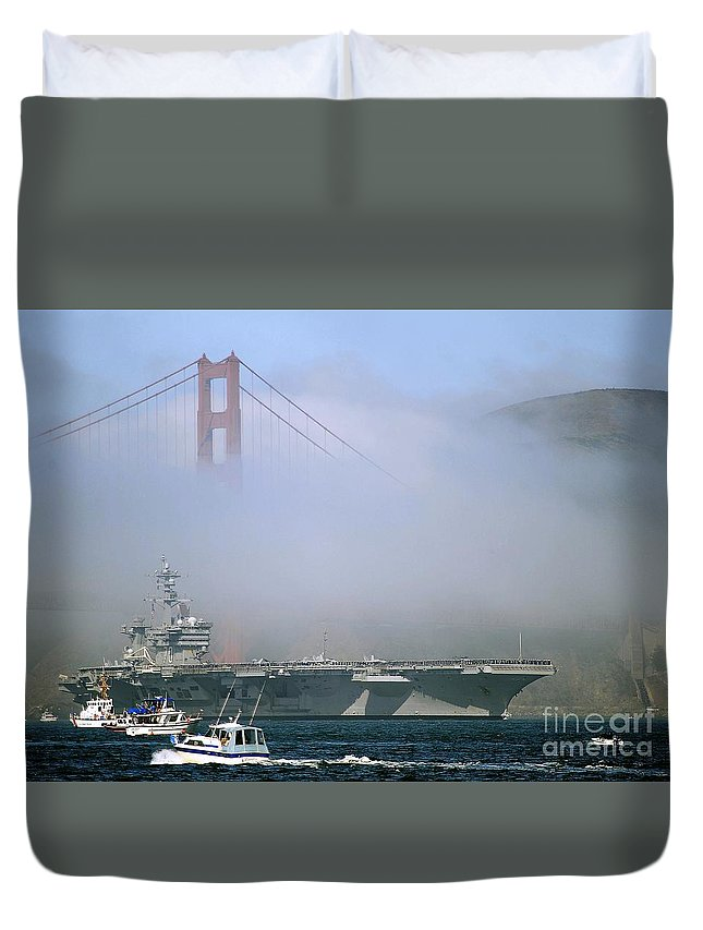 Aircraft Carrier Duvet Cover featuring the painting Aircraft Carrier by Celestial Images