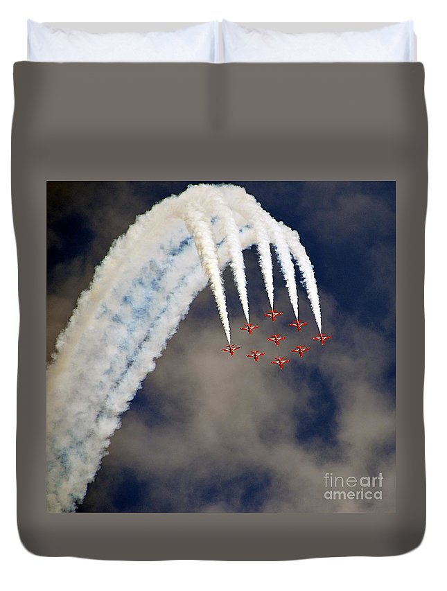 Aircrafts Duvet Cover featuring the painting Aircrafts by Celestial Images