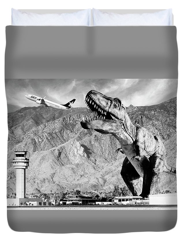 Dinosaur Duvet Cover featuring the photograph Airplane Food Black And White by William Dey