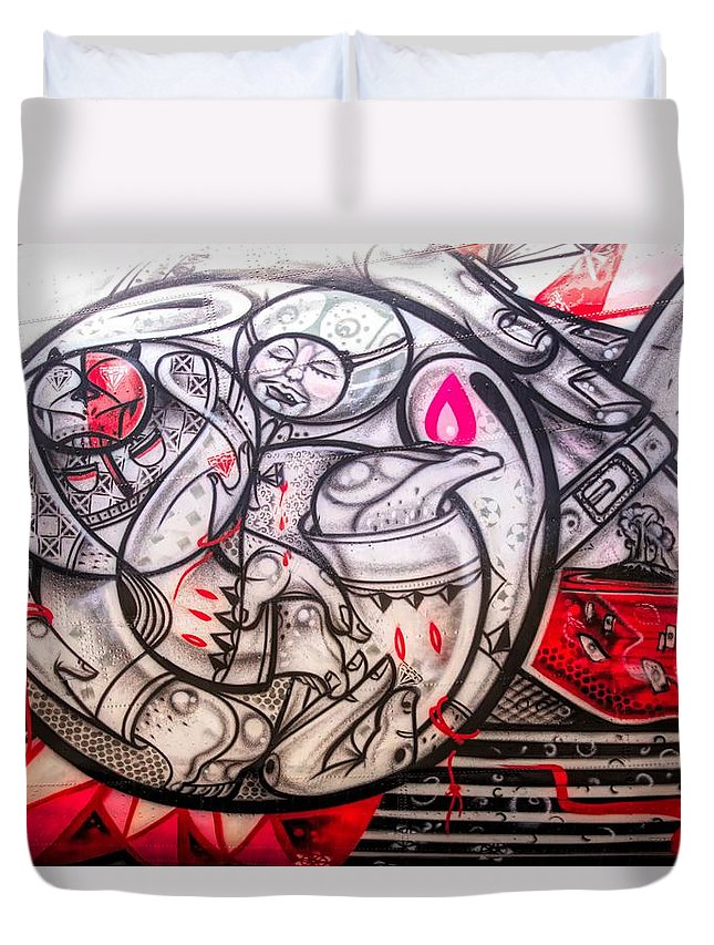 Alicegipsonphotographs Duvet Cover featuring the photograph Airplane Grafitti by Alice Gipson