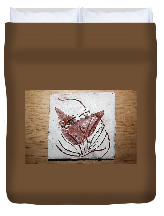 Jesus Duvet Cover featuring the ceramic art Aisha - Tile by Gloria Ssali