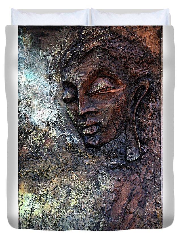 Buddha Duvet Cover featuring the painting Ajanta Buddha 2 by Shailesh Bodele