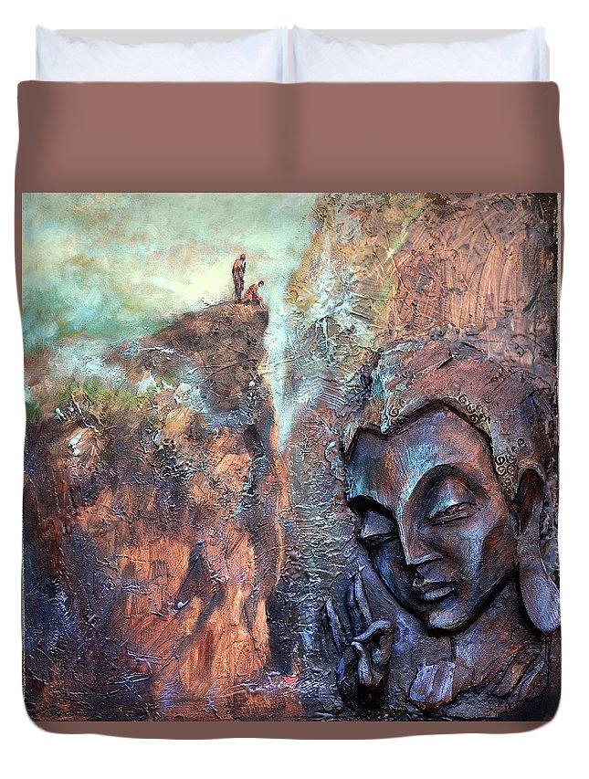 Buddha Duvet Cover featuring the painting Ajanta Buddha by Shailesh Bodele