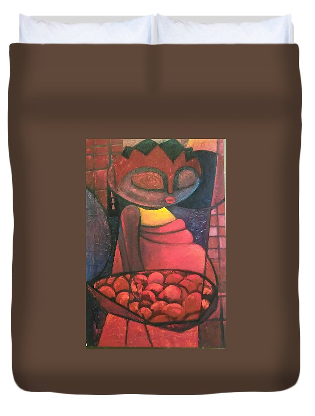Duvet Cover featuring the painting Akara Woman by Ankeli Christopher