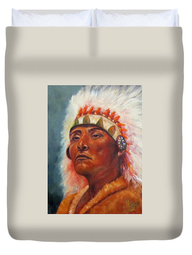 Native American Indian Duvet Cover featuring the painting Akecheta, Native American by Sandra Reeves