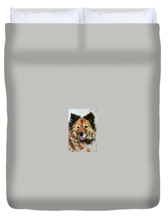 Dog Duvet Cover featuring the painting Akia by Frances Marino