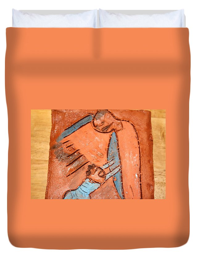 Jesus Duvet Cover featuring the ceramic art Akili - Tile by Gloria Ssali