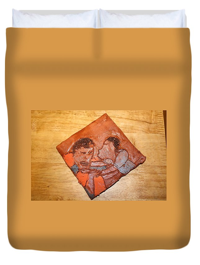 Jesus Duvet Cover featuring the ceramic art Akuweeke - Tile by Gloria Ssali