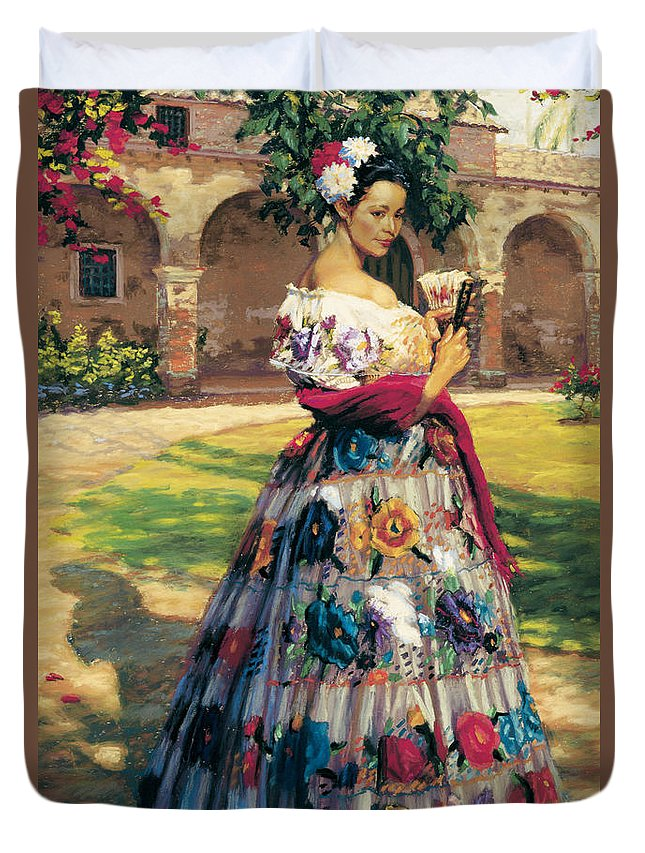 Woman Elaborately Embroidered Mexican Dress. Background Mission San Juan Capistrano. Duvet Cover featuring the painting Al Aire Libre by Jean Hildebrant