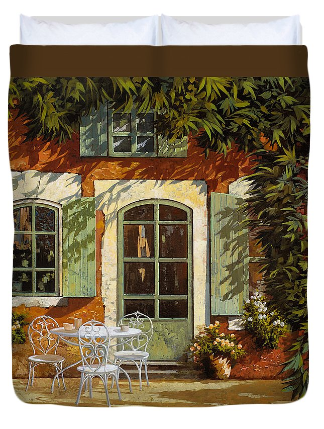 Landscape Duvet Cover featuring the painting Al Fresco In Cortile by Guido Borelli