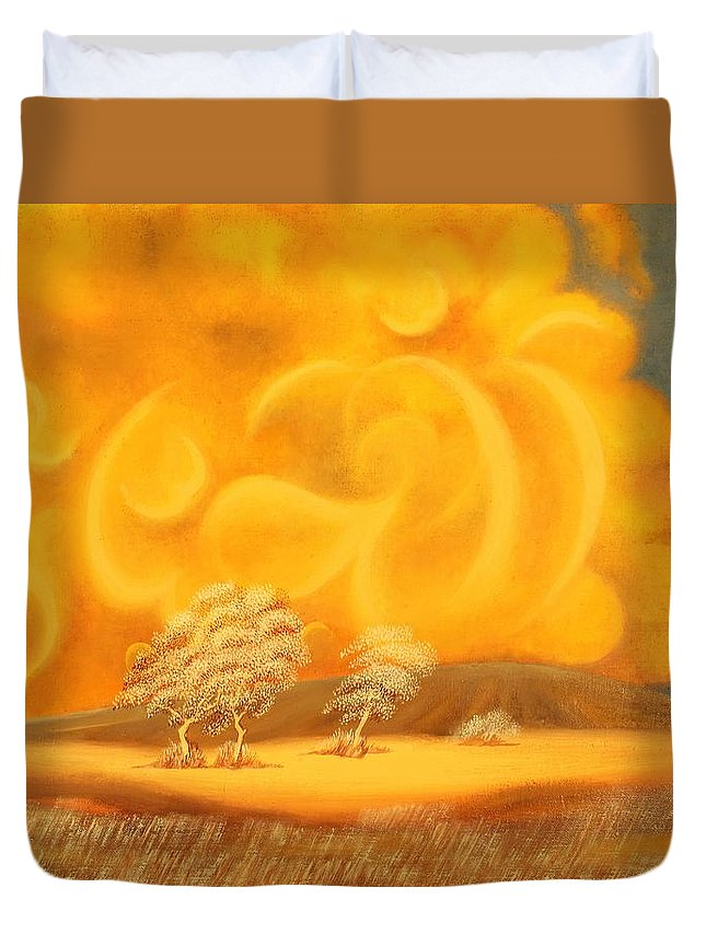 Names Of God Duvet Cover featuring the painting Al-jabbar. The Compeller by Zufar Nizami