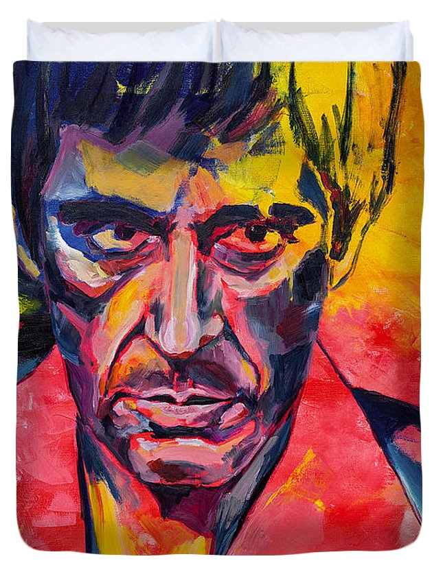 Al Duvet Cover featuring the painting Al Pacino by Dima Mogilevsky