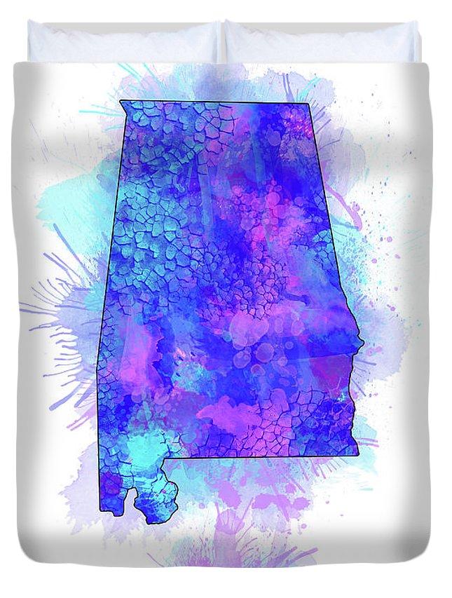 Alabama Duvet Cover featuring the digital art Alabama Map Watercolor 2 by Bekim Art