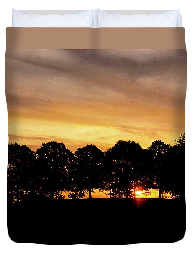 Alabama Duvet Cover featuring the pyrography Alabama Sunrise by Mitford Fontaine