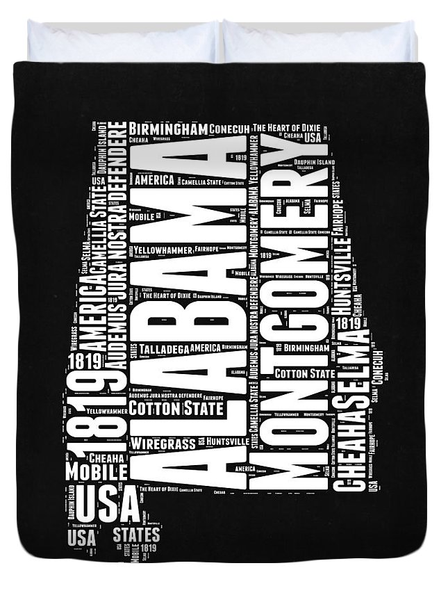 Alabama Duvet Cover featuring the digital art Alabama Word Cloud Black and White Map by Naxart Studio