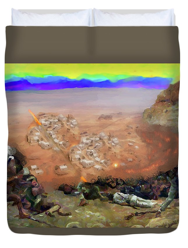Alamo Duvet Cover featuring the digital art Alamo Frontiersmen by Charles Papaccio
