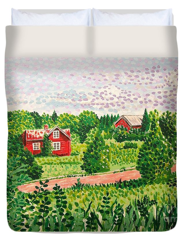 Aland Duvet Cover featuring the painting Aland Landscape by Alan Hogan