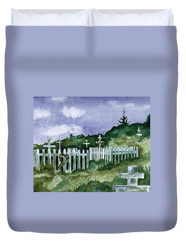 Landscape Duvet Cover featuring the painting Alaska Graveyard by Brenda Owen
