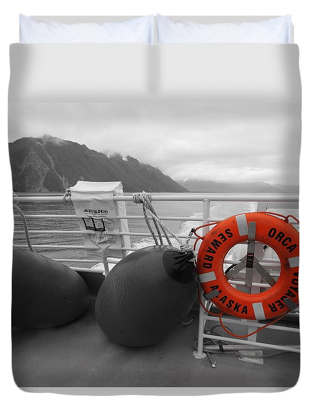 Alaska Duvet Cover featuring the photograph Alaska Orca Voyager by Julianne Pereira