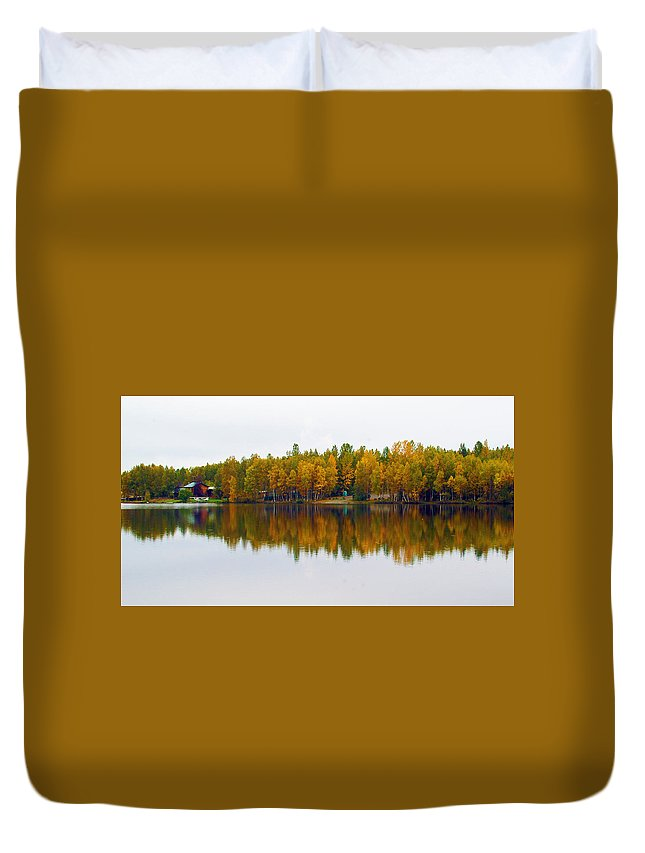 Wilderness Duvet Cover featuring the photograph Alaska Reflection by Ronnie Gilbert