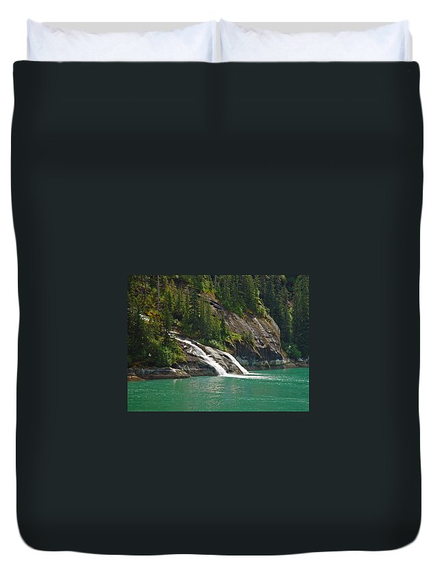 Waterfall Duvet Cover featuring the photograph Alaska Tracy Arm by Heather Coen