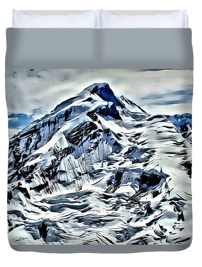 Volcano Duvet Cover featuring the digital art Alaska Volcano by Anthony C Chen