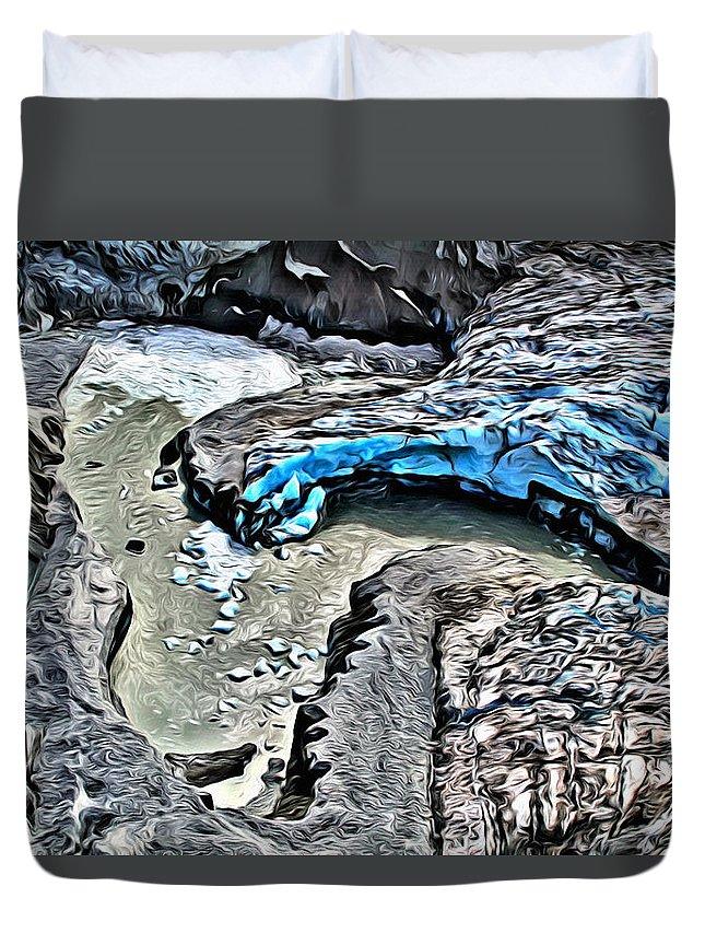 Glacier Duvet Cover featuring the digital art Alaskan Glacier by Anthony C Chen